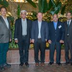 Fermilab Director Nigel Lockyer meets Indian scientists in the Wilson Hall atrium in 2016